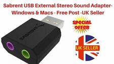 Sabrent USB External Stereo Sound Adapter for Windows/Mac. Plug & Play UK Post