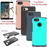 For Google Pixel 3 XL Shockproof Slim Rubber Silicone TPU Hard Case Cover+Glass