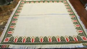 Vintage Woven Christmas Trees Candles Snowflake TableTopper Red White Green