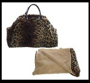 NWT Dennis Basso Faux Fur Travel Bag with Throw In Leopard