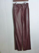 TAMARI SIZE 29 MENS BURGANDY SMOOTH COW LEATHER PANTS