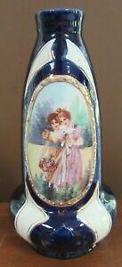 """Antique Victorian Porcelain Portrait Cobalt Vase JS Joseph Strnact Austria 9.25"""""""