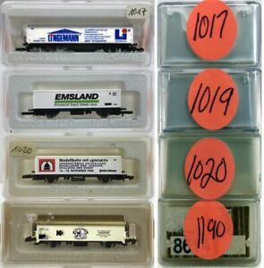 MARKLIN Z SCALE M/M 1017-1019-1020-1190  4 COLLECTOR Freight Cars Marklin BoxsC8