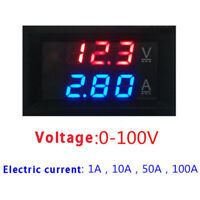 Digital Red LED Voltage Meter DC100V 10A Voltmeter Ammeter Blue+Red LED Amp ATA