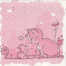 2 Lunch Papier Servietten Napkins (6-8) Katze mit Kitten Cat