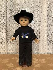 LOGAN BLACK PANTS/SHIRT/BLACK BOOTS AND COWBOY HAT #1  FITS AMAERICAN GIRL/BOY