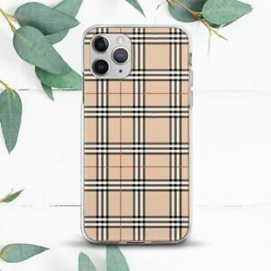 Black Beige Checkered Stripes Case For iPhone 7 8 X SE 11 12 13 Pro Max XR