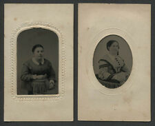 Salem MA: Lot of 2 12th Plate Tintype Portraits in Potters Patent 1865 CDV Cards