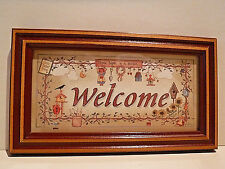 New listing Vintage Framed Welcome Sign - Bird Houses, Flowers, Birds & Garden Tools