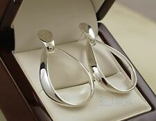 925 plata esterlina Estampado Pltd Oval aro Dangle Pendientes-Uk-Nuevo -91