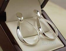925 Sterling Silver Plated Oval Hoop Dangle Drop Earrings - UK - New -91