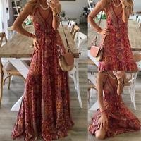 US Womens Boho Maxi Floral Dress Ladies Summer Sleeveless Long Dress Sundress