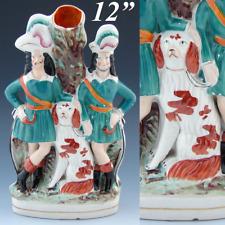 "Antique English Staffordshire Spill Vase, Cavalier Gent Pair & Dog, Spaniel, 12"""