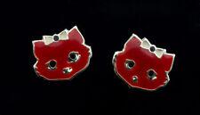 Boucle d oreille Clou Chat Japonais Maneki neko en Argent 925 -Rouge- 379 - K98