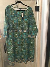 Talbots Woman Blue Green Paisley Dress Plus size 24W NWT MSRP $149