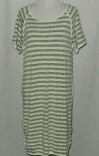 Anthropologie Comme Toi Womens Dress Sz L Butter Soft Gray Cream Stripes Career