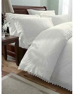 Balmoral Luxurious Percale Emboridered Broderie Anglais Bed Set Bedding White Do