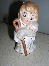 Vintage Josef original Sheppard Girl with Staff and Holding Baby Lamb