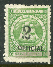 """BRITISH GUIANA: (17198) """"2"""" on 24c OFFICIAL"""