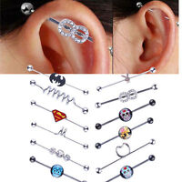 Surgical Steel Industrial Scaffold Ear Piercing Bar Barbell - Choose Design