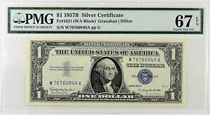 $1 1957B Silver Cert PCGS 67 PPQ Gem New Fr#1621(WA Block) Granahan/Dillon