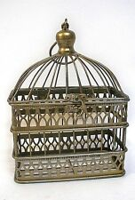 Gold Metal Card Bird Cage Box Holder Hanging Wire