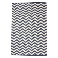 Large Cotton Woven Blue Rug With Chevron White Pattern 120x180 cm by Hubsch