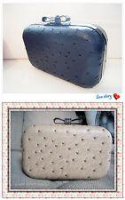 Designer Ostrich Pattern Beige Bow Crystal CLASP Case Clutch Evening Bag Fashion