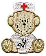 NURSE Monkey Sitting/White Coat/Cap/Red Cross Iron on Applique/Embroidered Patch