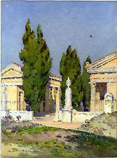AQUARELLE ANCIENNE PEINTRE PROVENCE VAISON LA ROMAINE VAUCLUSE CASIMIR RAYMOND