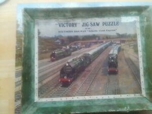 vintage victory wooden jigsaw puzzle ( atlantic coast express ) complete