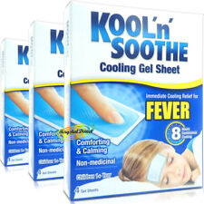 3x Kool 'n' Soothe Soft Gel Children Kids Fever Immediate  Relief 4 Sheets