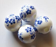 30pcs 10mm Round Porcelain/Ceramic Beads - White / Dark Blue Oriental Flowers