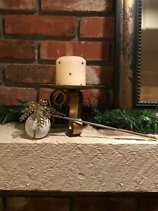 Vintage Holiday Candle Snuffer White Ceramic w/ Brass Handle Copper Bells