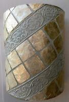 Applique in resina e madreperla bianca cm 25x13x30 etnico luce da muro moderno 2
