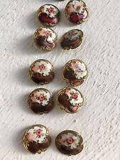 Lot x 10 Antique Gilt Enamel A.P & Cie Paris Champleve Pink Rose Buttons +1