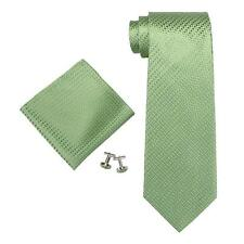 Neck tie hankerchief cuff links set Green Landisun  Mens, NEW Boxed, xmas gift?