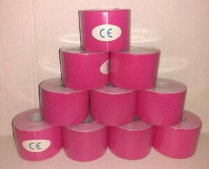 10 Rolls Of Pink Elastic Kinesiology Sports Tape Muscle Pain Care Therapeutic