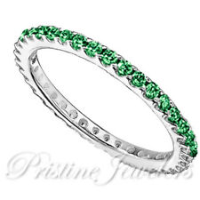 1pc Women Sterling Silver Ring Thin Eternity Band CZ Color Pink Blue Black Green
