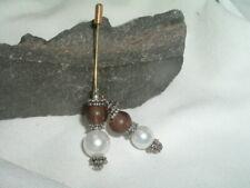 Vintage White Pearl And Purple Silvertone Dangle Hatpin In Gift Box