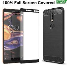 For Nokia 2.1 3.1 5.1 7.1 Case Shockproof Armor Cover + Tempered Glass Film