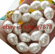 """LARGE FASHION 20MM SOUTH SEA WHITE BAROQUE SHELL PEARL NECKLACE 20"""" AAA"""