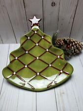 Pottery Barn Seasons Greetings Christmas Tree Ceramic Green Candy/Relish Dish