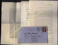 1869 1d red LEEK to GOSPORT, Hants Returned letter + CONSOLS ASSOCIATION PAPERS