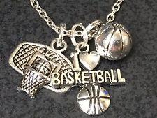 "I Love Basketball Large Backboard Charm Tibetan Silver 18"" Necklace"