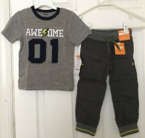 NEW Gymboree Boys 2T Outfit Pants Joggers T Shirt Top