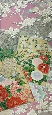 Vintage Japanese Silk FURISODE Kimono EMBROIDERYFabric Panel Quilting Patchwork