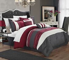 Luxurious 6-Piece Embroidered Comforter Set Bedding King Bed in a Bag Red Gray