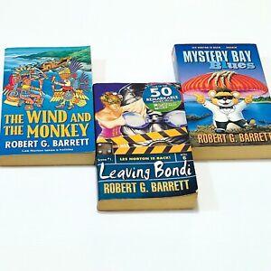 3x Robert G Barrett Books: The Wind & The Monkey Leaving Bondi Mystery Bay Blues