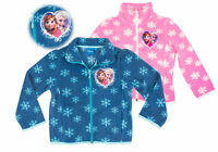 Disney Frozen Girls Polar Fleece Zip Jacket Jumper Hot Pink Blue Anna 4/8 Yrs